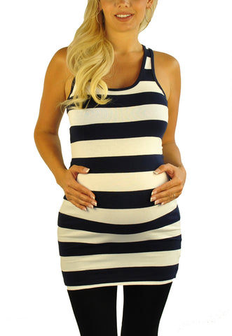 Blue White Maternity Tank Top- So Sienna