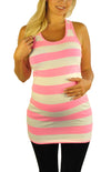 Stripped Neon Pink Maternity Tank Tops