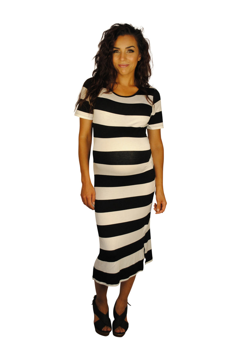 Striped Maternity Dresses - Weekday Getaway - Mommylicious