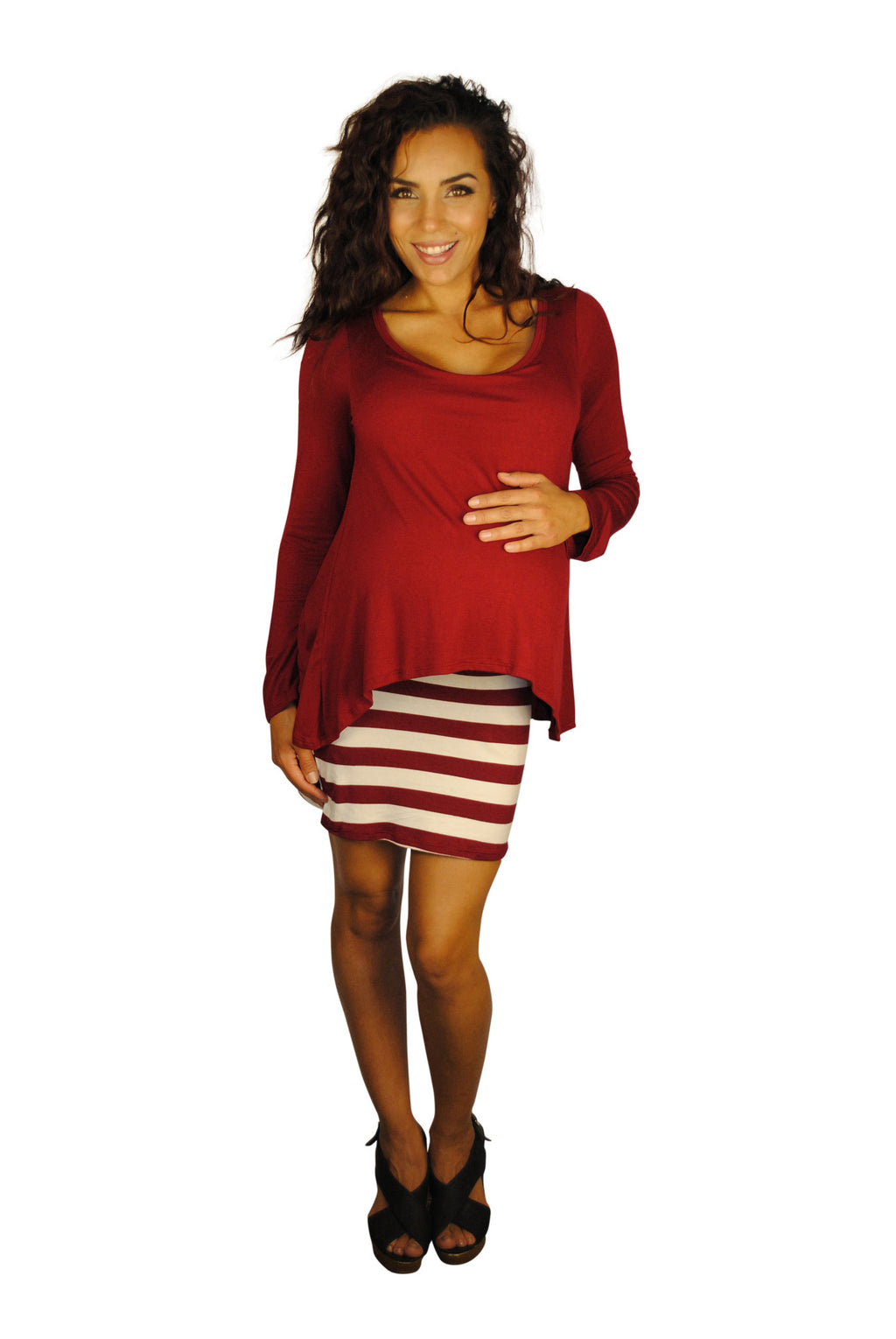 Dollhouse Dame Striped Maternity Dress