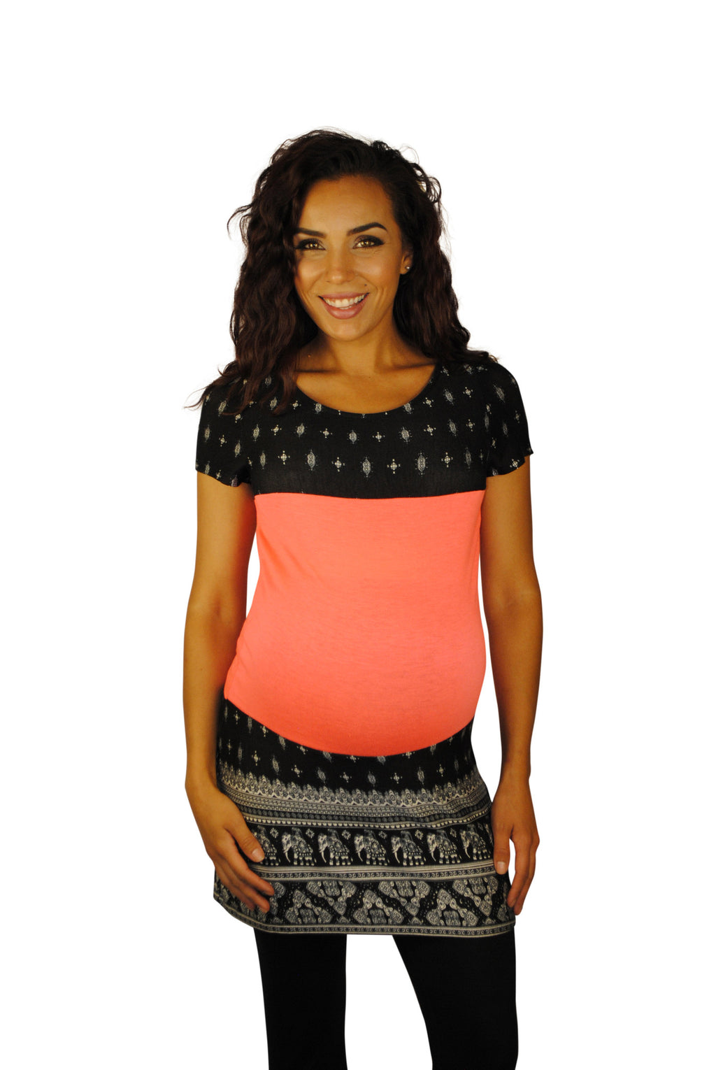 Peach and Black Hip Maternity Tops