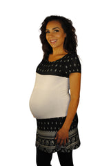 Black and White Hip Maternity Tops