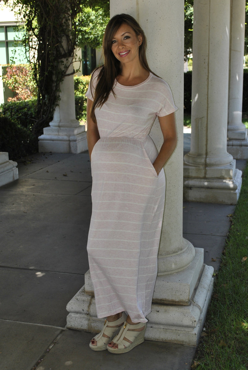 Striped Maternity Maxi Dress - Mommylicious