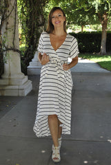 Striped High-Low Maxi Dress