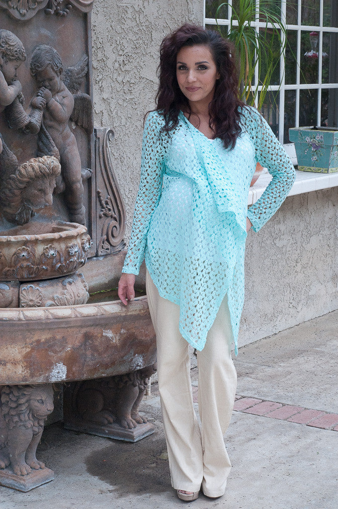 Crocheted Maternity Cardigan - Mommylicious