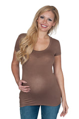 Brown Basic Maternity Tee