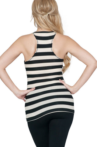 Black White Stripped Maternity Tank Top