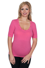 Fitted Pink Heart Stud Still Maternity Tops