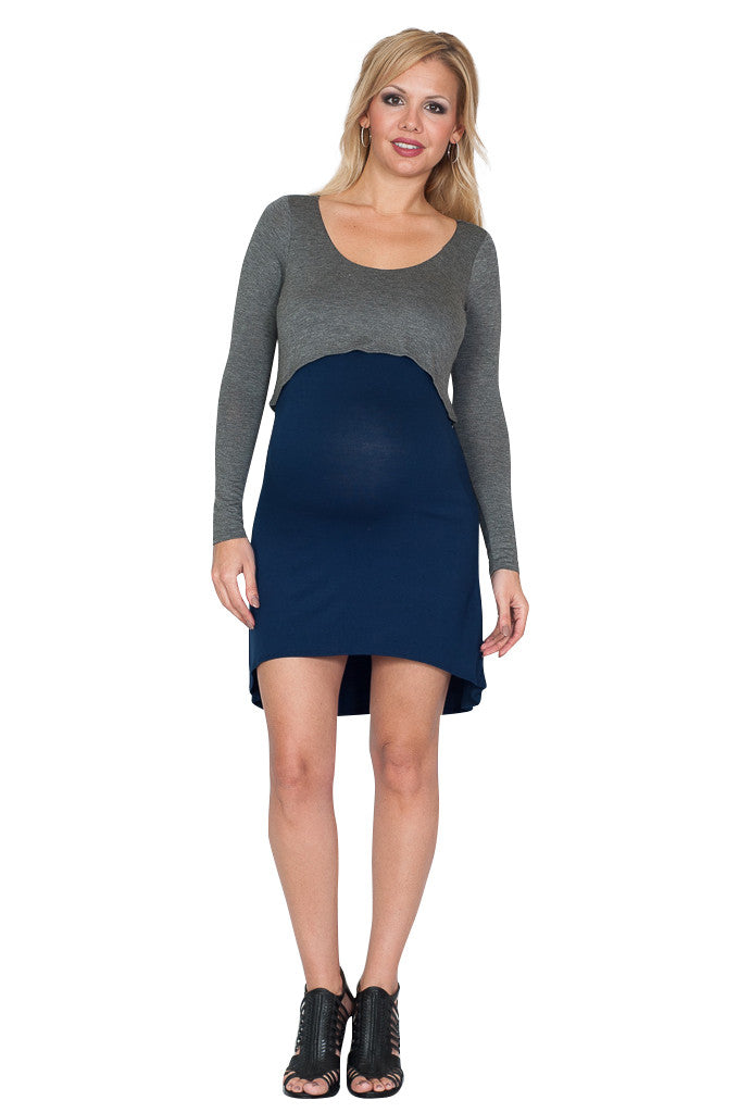 Contrast Maternity Dress