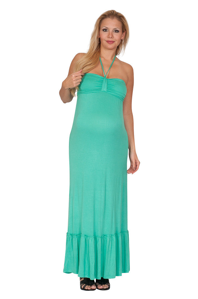 Teal Halter Maternity Sundress - Mommylicious