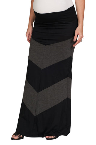 Colorblock Long Maxi Maternity Skirt