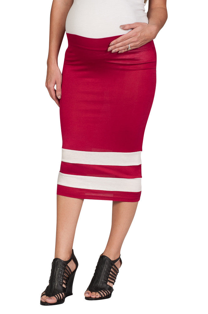 Red Maternity Skirt - Mommylicious