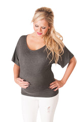 Too Jewel For School -  Charcoal Maternity Dolman
