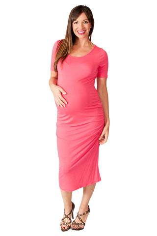 Coral Bodycon Maternity Dress