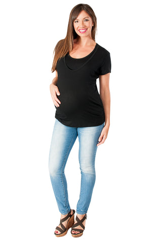 Black Scoop Neck Short Sleeve Nursing Top