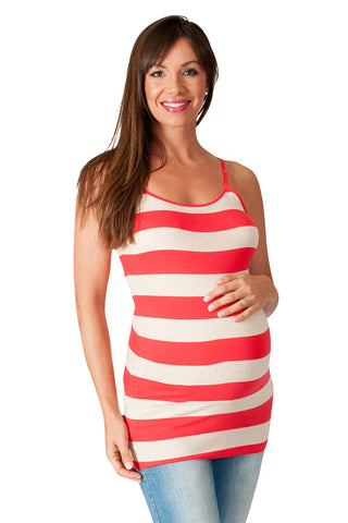 Red Striped Maternity Tank Top - Stay Cool