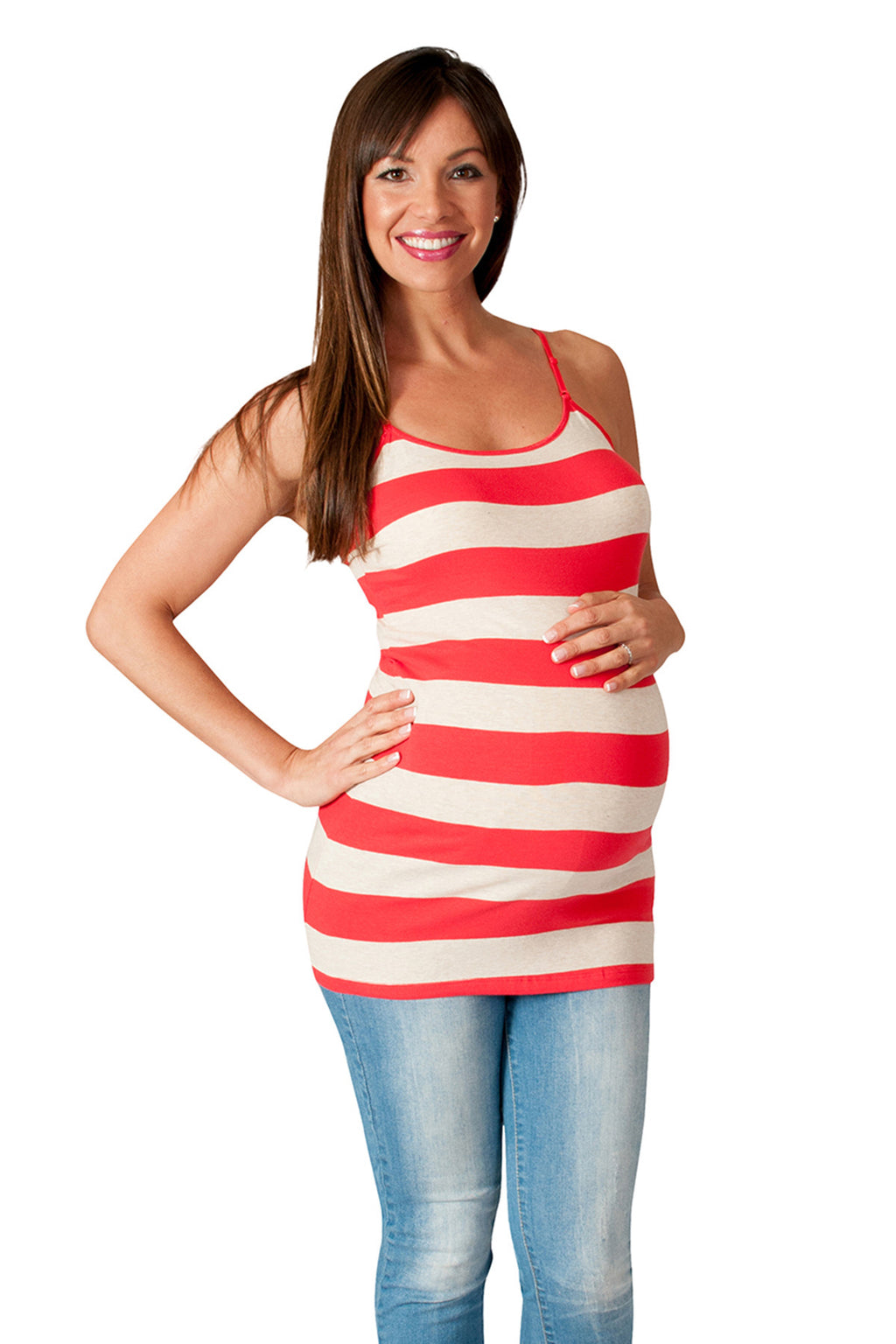Red Striped Maternity Tank Top - Stay Cool - Mommylicious