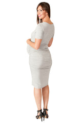 Grey Bodycon Maternity Dress