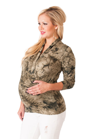 Tie-Dye Maternity Long Sleeve Top