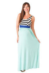 Mint Stripe Sleeveless Maternity Maxi Dress