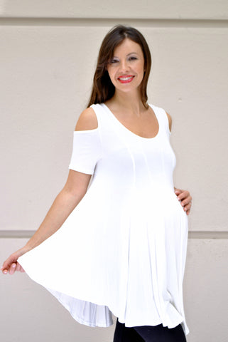 Cold Shoulder Maternity Swing Top