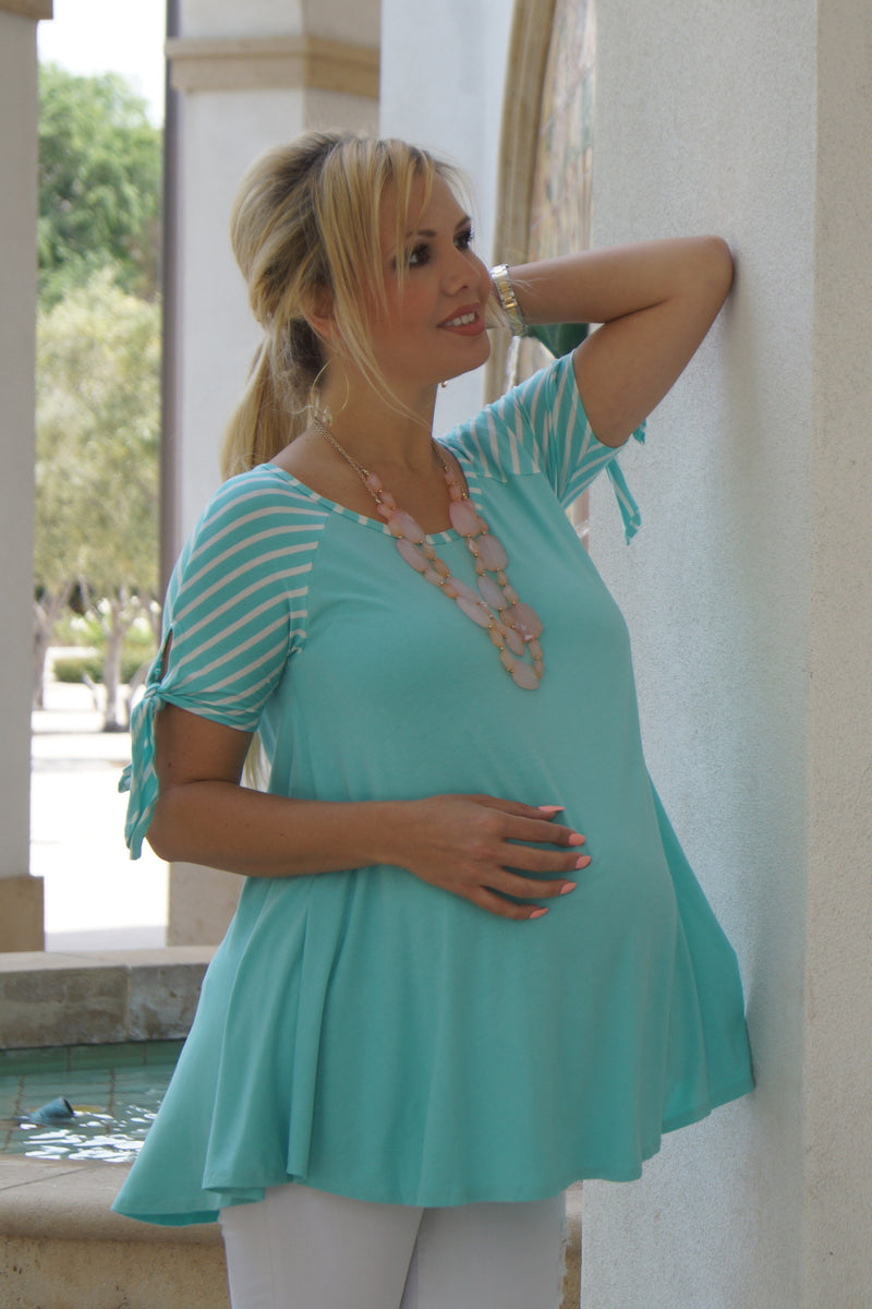 Tie-Sleeve Maternity Top - Mommylicious