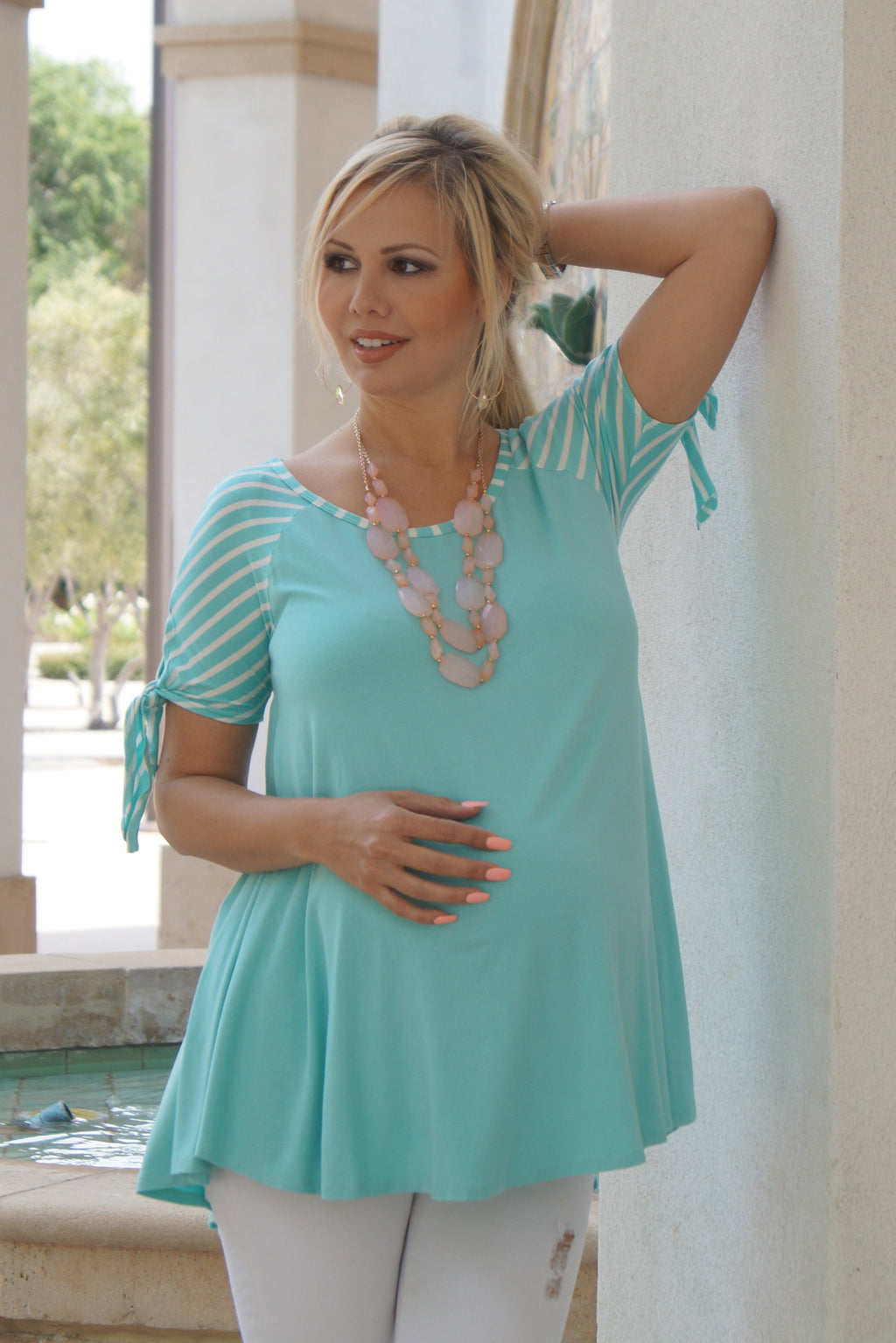 Tie-Sleeve Maternity Top
