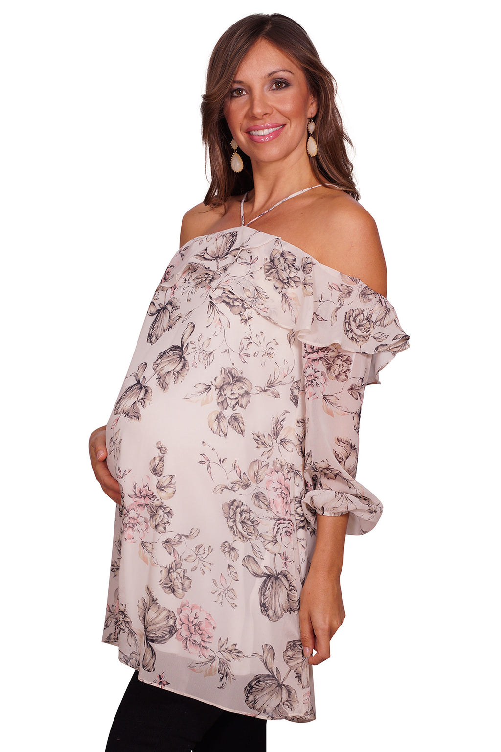 Halter Floral Maternity Top