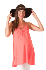 Coral Lace-Up Maternity Swing Tank