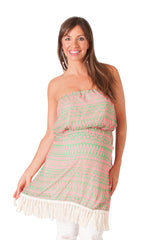 Green & Pink Tribal Fringe Strapless Maternity Tunic