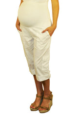Maternity Shorts-White Cargo Shorts
