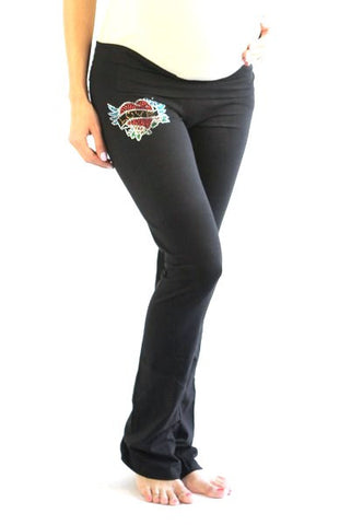 Plus Size Maternity Pants-True Love Rhinestone
