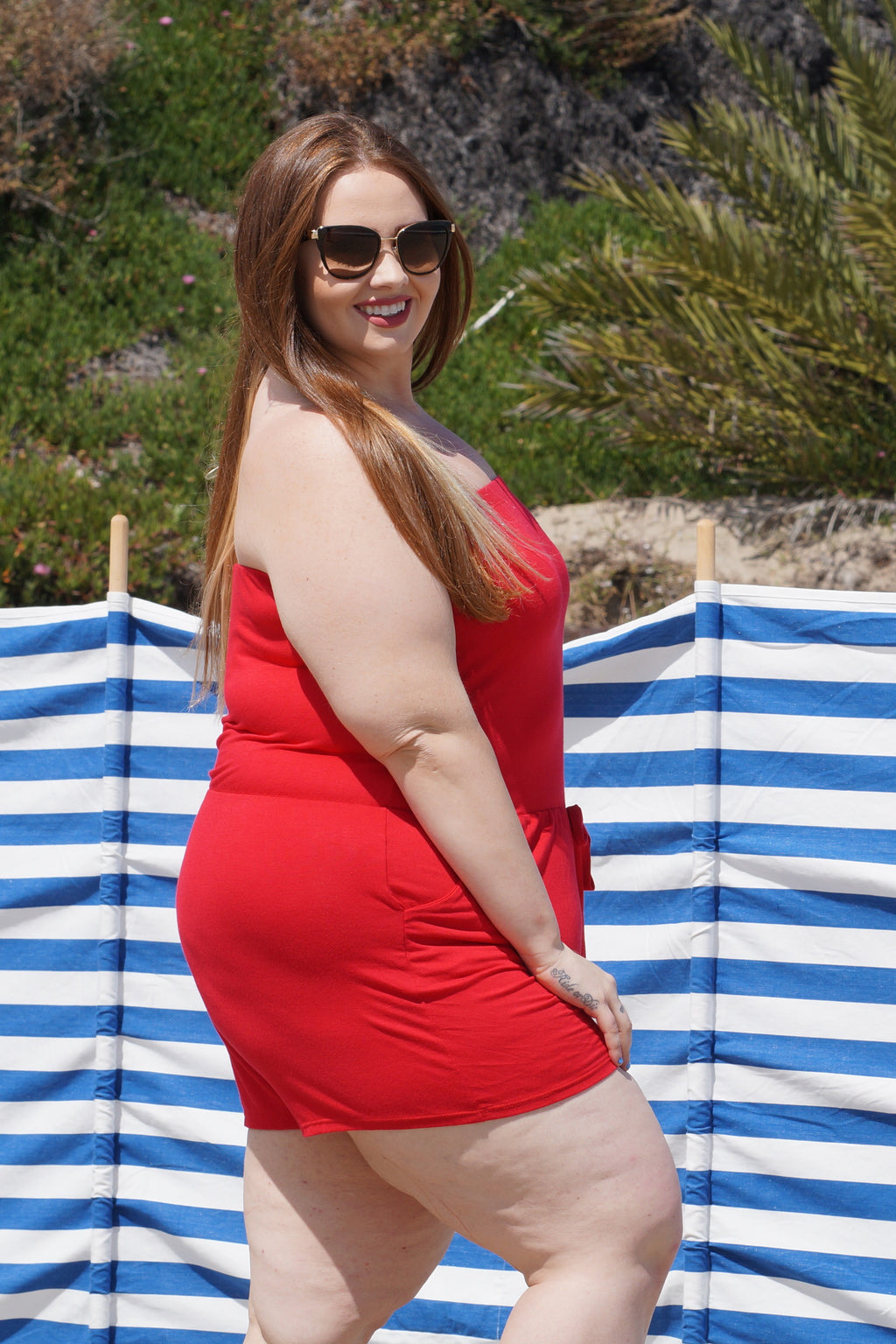 Red Plus Size Maternity Romper