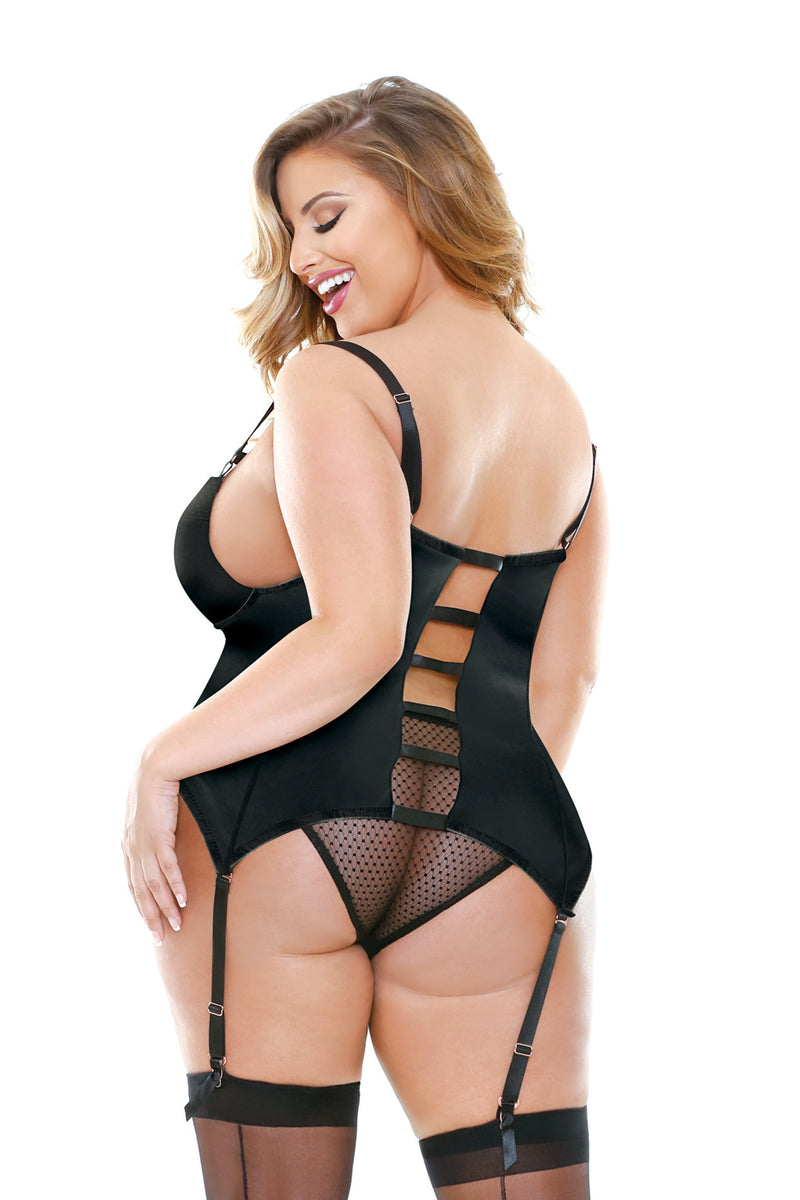 Odessa Molded Cup Bustier with Matching Panty - Black - Mommylicious