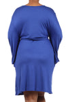 Blue Belted Plus Maternity Dress-Kimono Let's Go - Mommylicious