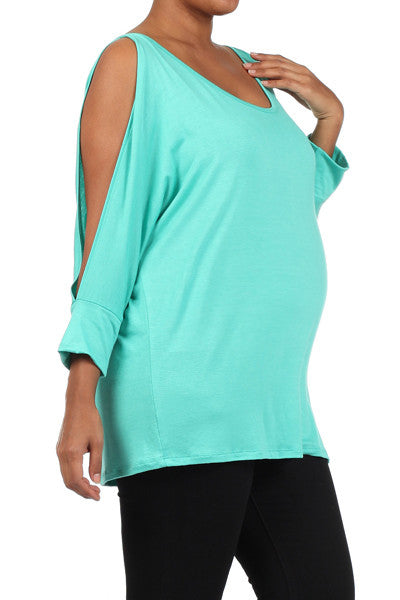 Slit Sleeve Plus Maternity Top - Mommylicious