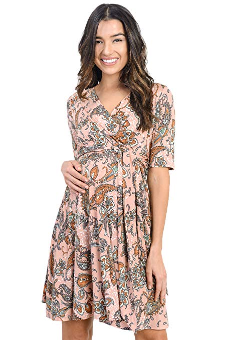 3/4 Sleeve Baby Shower Wrap Maternity Dress - Mommylicious
