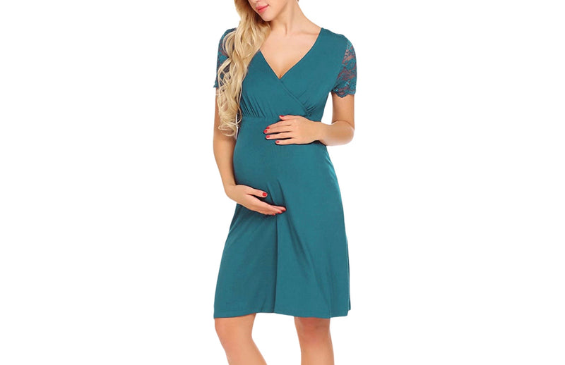 Lace Pregnancy Dress for Delivery/Labor/Nursing
