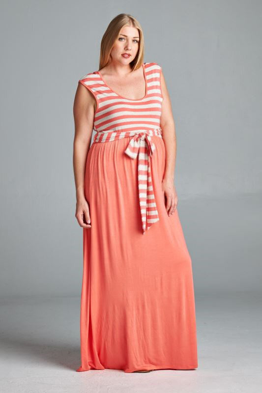 Stripe it Lucky Plus Maternity Dress - Mommylicious