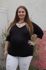 Three quarter Sleeve Plus Size Maternity Top