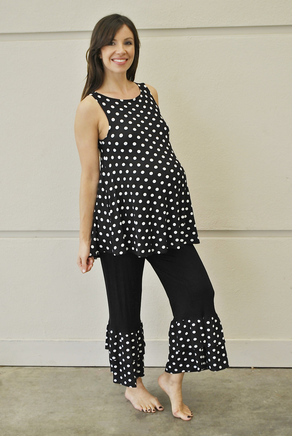 Black & White Polka Dot Maternity Pajama Set