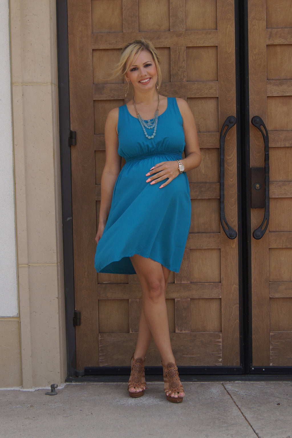 Teal is the New Black Maternity Dress