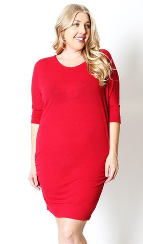 Red plus maternity dress