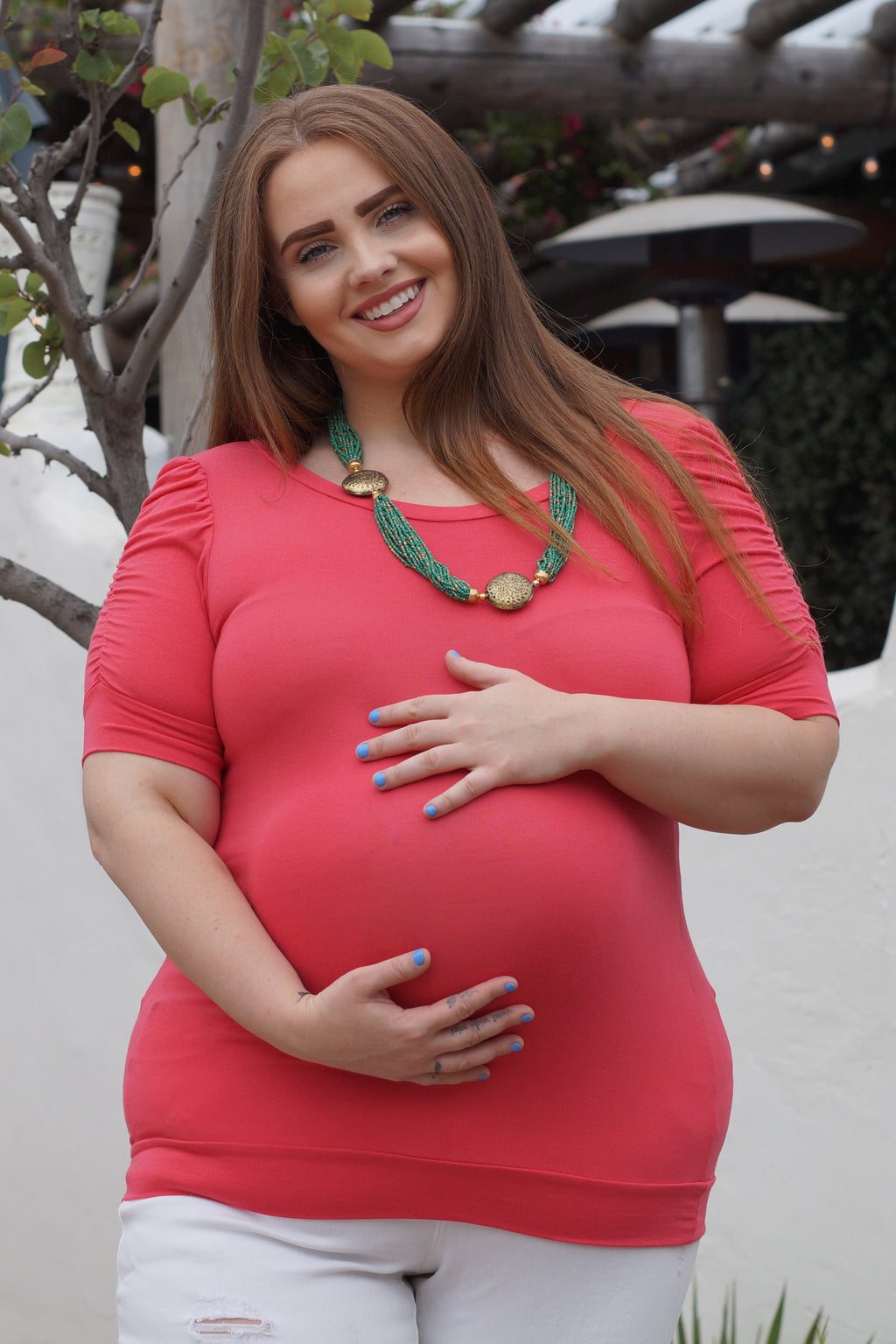 Ruched Sleeved Plus Size Maternity Top - Mommylicious
