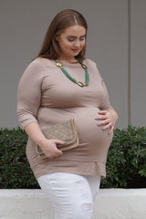 So Mocha Plus Size Maternity Top