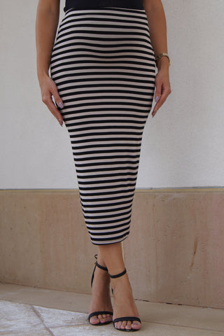 Stripped Maxi Tube Skirt