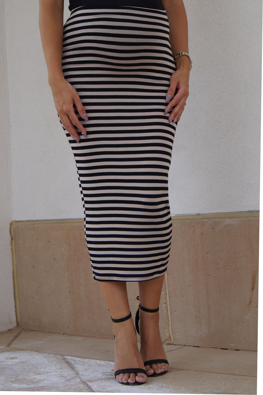 Striped Maternity Maxi Tube Skirt