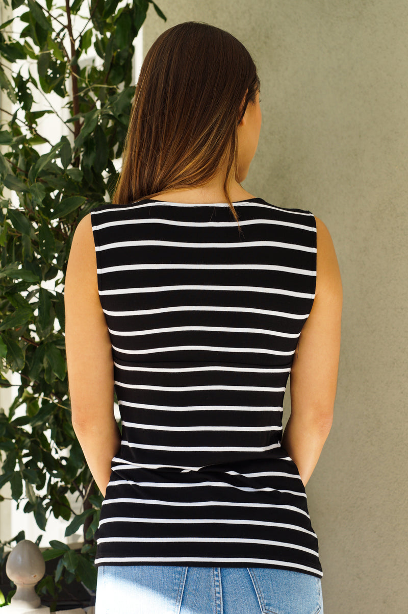 Striped V-Neck Tank - Mommylicious