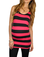 Trendy Maternity Clothes - So Sienna Stripes Hot Pink