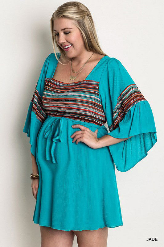 Striped Peasant Plus Maternity Dress - Mommylicious